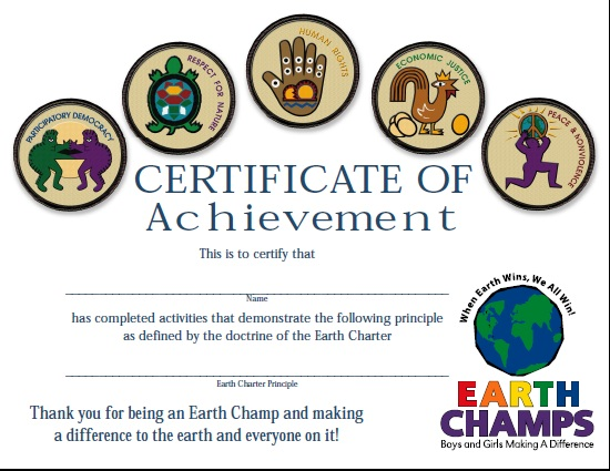 Earth Champs Certificate Embroidered Badge Style