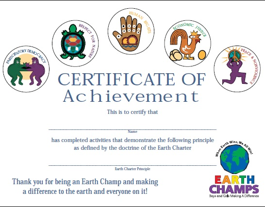 Earth Champs Certificate Flat Color Style