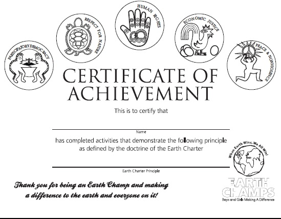 Earth Champs Certificate Black and White